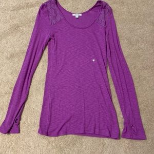 Purple long sleeve shirt with lace detailing